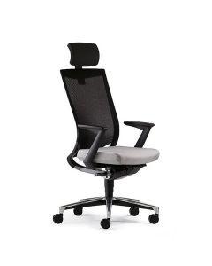 Klöber Duera due89 Büro-Drehstuhl mit hoher 3D-Stricknetzrückenlehne und Nackenstütze